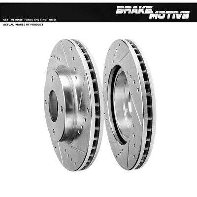 CERAMIC PADS 56448PK POWER DRILLED SLOTTED PLATED BRAKE ROTORS FRONT + REAR
