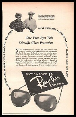 1947 RAY-BAN Sun Glasses Vintage AD Dot & Ernie Lind Exhibition Shooters