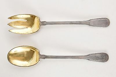 RARE Tiffany & Co. Gold Wash Fork & Spoon Salad Set
