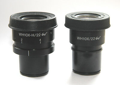Pair Olympus Microscope Eyepieces WH (-H) 10X / 22 - One Adjustable - for BX