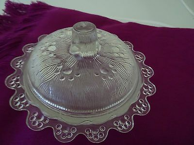 "6"" Clear Glass Round Butter Dish W. Lid-Dimensional-Scalloped Edges-Unmarked"