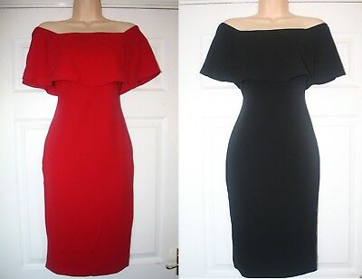 Brand New ex River Island Red / Black Frill Bardot Bodycon Party Occasion Dress