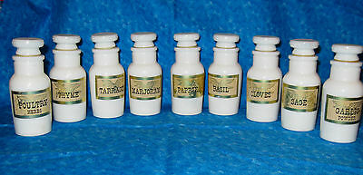 9 milk glass spice bottles white labels pills crafts glitter beads storage jar