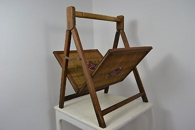 EDWARDIAN 1930s BAMBOO HAND PAINTED HAND CARVED MAGAZINE RACK ENGLISH MADE