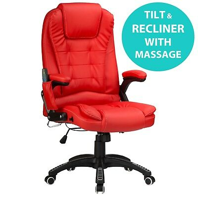Raygar Red 6-Point Massage Luxury Leather Reclining Office Computer Desk Chair