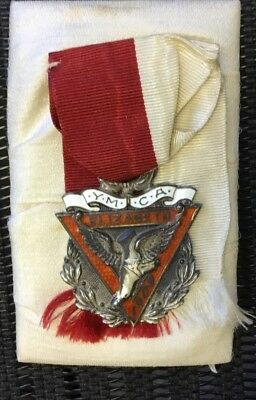 1909 Sterling & Enameled YMCA Sports Champion Presentation Medal Elizabeth NJ NR