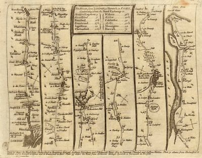 London Stratford Romford Chelmsford Colchester Harwich. KITCHIN road map 1767