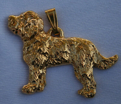 Labradoodle Dog 24K Gold Plated Pewter Pendant USA Made