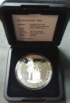 1992 Netherlands Proof Silver Ducat Re-strike W/Case & COA