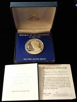 Philippines 1980 Macarthur Proof Silver 25 Piso - Low 6318 Mintage