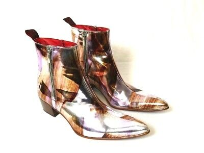 JEFFERY-WEST 'MUSE' Metallic Multicolour Leather SYLVIAN Double Zip boot UK 8