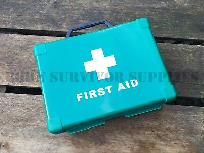 EMPTY FIRST AID KIT BOX - Green Compact Small Hard Carry Storage Case Car Glove