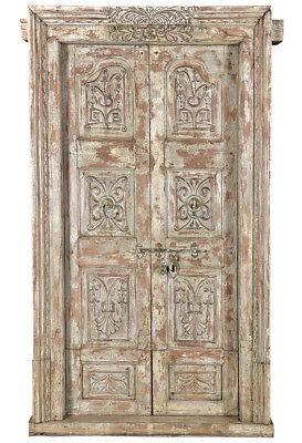 Stunning Bhutan Carved Antique Ornate Wood  Door w/Frame,52'' x 93''H.
