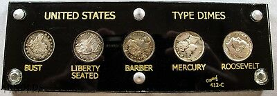 United States Dimes Type Set - Capped Bust, Seated, Barber, Mercury, Roosevelt -