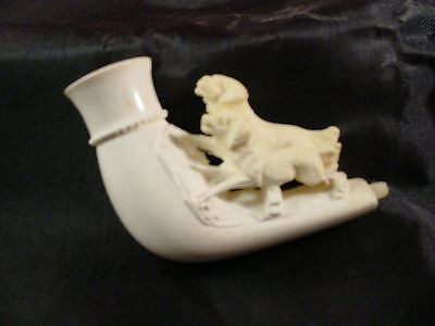 Antique Vintage 2 Dog Meerschaum Cheroot Pipe With Case If Smoked, Very Light -3