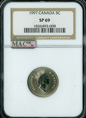 1997 Canada 5 Cents Ngc Mac Sp69  Proof Finest Graded Spotless *