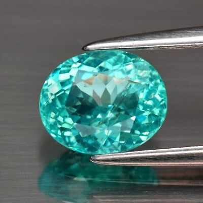 1.39ct 7.6x6.2mm Oval Natural Paraiba-Color Neon Green Blue Apatite