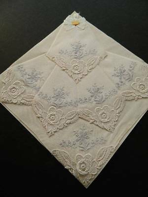 30 vintage UNUSED ladies hankies with original packaging - lace & embroidery