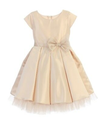 Flower Girls Champagne Satin Tulle Pleated Dress Wedding Easter Christmas 711