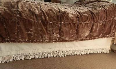 Pair of Victorian antique white cotton bed valances or skirts with crochet lace