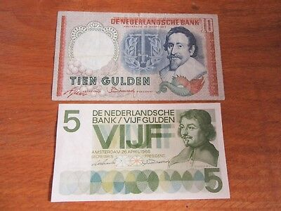 Amsterdam - Holland -  Netherlands 2 Gulden Bank Notes (1953,1966) - Estate Find