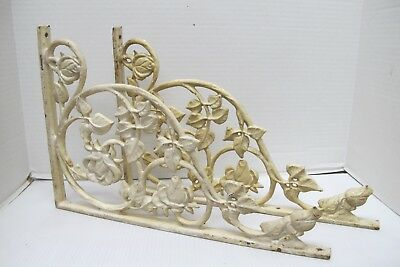 PAIR OF VINTAGE FLORAL DESIGN CAST IRON SHELF/WALL BRACKETS~VICTORIAN~16x10.75
