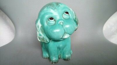 "Crown Devon ""bonzo""  Dog 101 (1930's) With Glass Eyes Blue Green Teal Glaze"