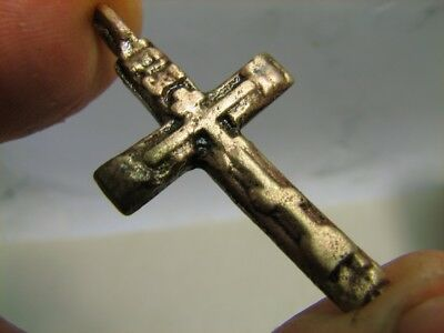 Big! Solid! Strong !  Late Medieval Period Bronze Cross Pendant #6652