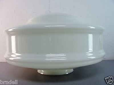 "VINTAGE WHITE MILKGLASS CEILING LIGHT SWAG LAMP 16x9"" GLASS GLOBE SHADE ART DECO"