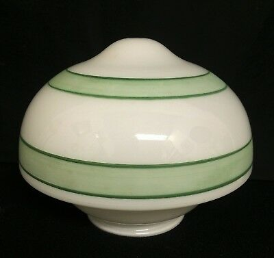 "Vtg White Milk Glass Deco Green Stripe Ceiling Light Shade Acorn Globe 4"" Fitter"