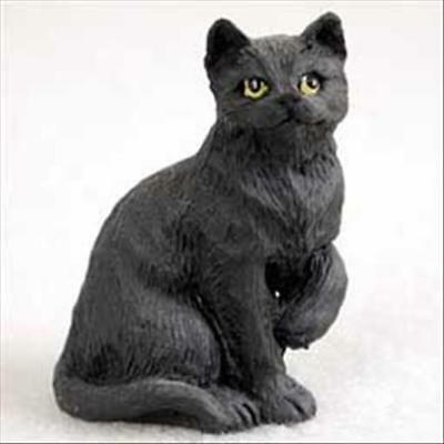 Black Cat Short Hair Tiny One Miniature Small Hand Painted Figurine