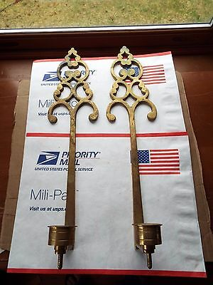 Pair of Vintage solid brass wall candle holder