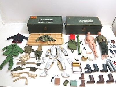 Large Lot Of Vintage 1960's Era Gi Joe Footlockers Men Weapons Outfits Gear Etc.