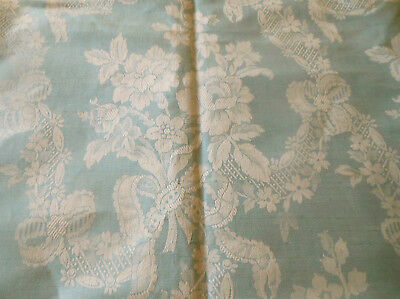 Antique French Blue Floral Roses Garland Linen Cotton Ticking Damask Fabric ~