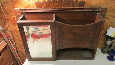 Antique Oak Barber Shaving Cabinet Mungers Laundry Supply Chicago