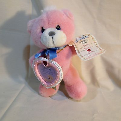 Precious Moments January Pink Birthday Bear Garnet with Photo Frame and Stand