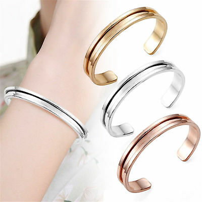 Charm Women Cuff Bangle Stainless Steel Hair Tie Bracelet Band Elegant Indent