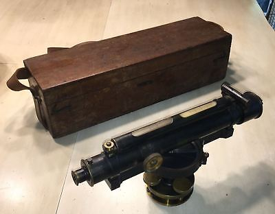 Antique W.F. STANLEY Brass Surveyor's Level in Wooden Box