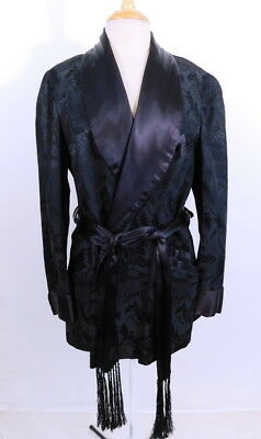 Vintage 1950s 50s Mens Black Asian Brocade Smoking Robe Jacket S/M