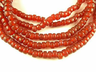 """26"""" lovely translucent ruby red Czech glass pony trade beads African AA-0035"""