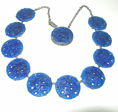 Stunning Art Deco Nouveau Blue Glass Pierced Floral Czech Antique Necklace