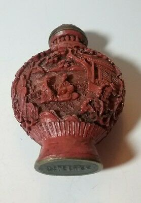 Antique Vintage China Chinese Carved Red Snuff Perfume Bottle