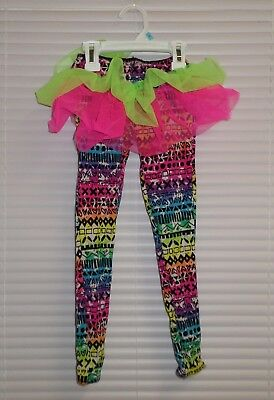 Weissman Costumes Multi-color Print Leggings with Attached Tutu Size XSC