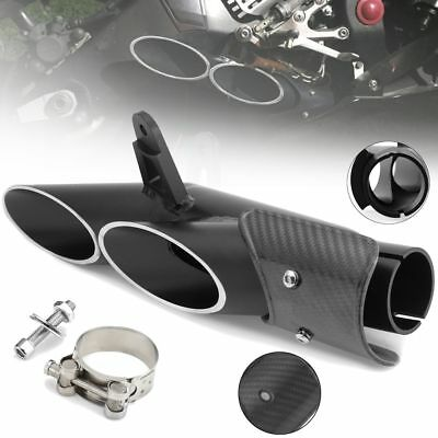 38-51mm Two-Hole Rear Carbon Fiber Aluminum Motorcycle Exhaust Muffler Pipe Kit