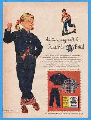 1954 Blue Bell Childrens Clothes Jeans Jacket Patterned Shirts Scooter Print Ad