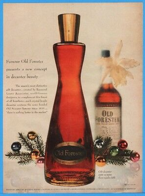 1953 Old Forester Brown Forman Louisville KY Christmas Decanter Decorative Ad