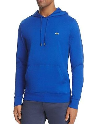 fe828db6 Lacoste Men's Steamer Blue Cotton Jersey Long Sleeve Pullover Hooded T-Shirt