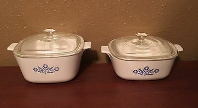 2 Vintage Corning Blue Cornflower Baking Dishes with Lids P-1 3/4 B and A-23