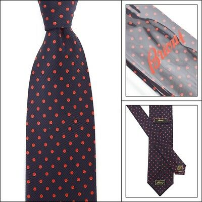 """New BRIONI Italy dis.N. H060001 Navy Red Polka Dot 3.25"""" Woven Silk Neck Tie"""