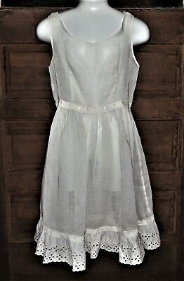 EARLY 1900s COTTON LAWN MATERIAL Eyelet Lace CHILD GIRLS VINTAGE SHEER FULL SLIP